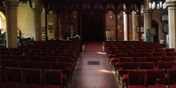 Panoramic shot of the interior taken from the nave altar
